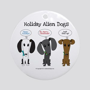 Holidays with the Aliens Round Ornament
