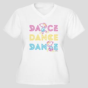 Peanuts Dance Women's Plus Size V-Neck T-Shirt