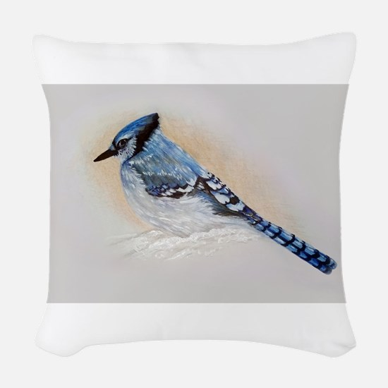 Blue Jay Drawing Woven Throw Pillow