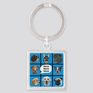 Silly dogs spoof Square Keychain