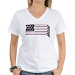 US Hockey Flag Women's V-Neck T-Shirt