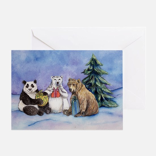 Happy Holiday Bears Art Card Greeting Cards