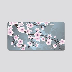 Pink Blue Cherry Blossoms Aluminum License Plate
