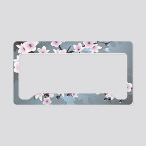 Pink Blue Cherry Blossoms License Plate Holder