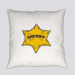 SHERIFF BADGE black Everyday Pillow