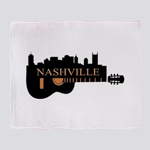 Nashville Guitar Skyline-05 Throw Blanket