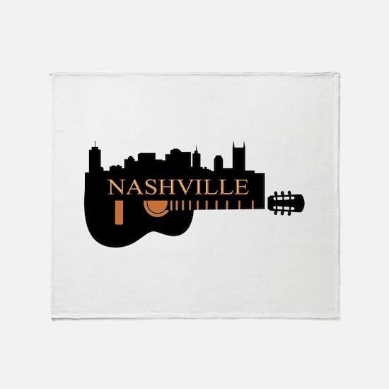 Nashville Guitar Skyline-05 Throw Blanket