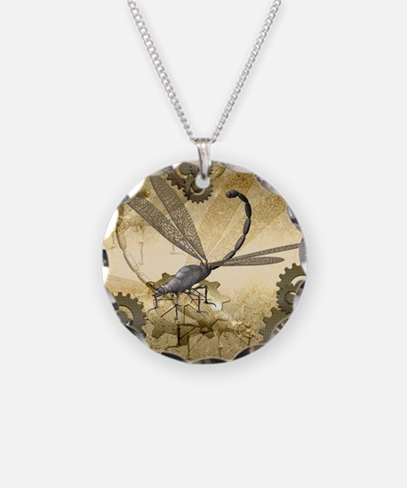 Steampunk, awesome steam dragonfly Necklace