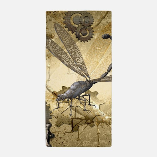 Steampunk, awesome steam dragonfly Beach Towel