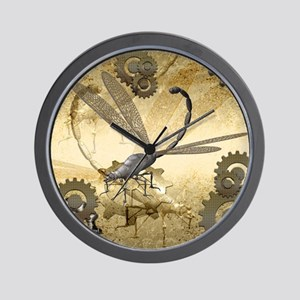 Steampunk, awesome steam dragonfly Wall Clock
