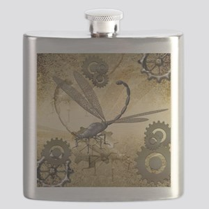Steampunk, awesome steam dragonfly Flask
