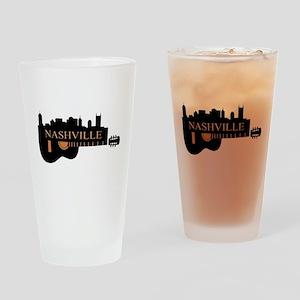 Nashville Guitar Skyline-05 Drinking Glass