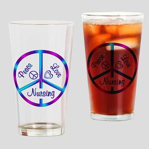 Peace Love Nursing Drinking Glass