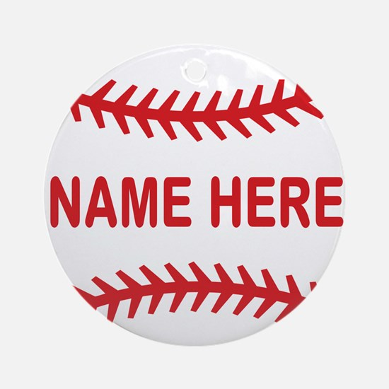 Baseball Laces Personalzied Name Round Ornament