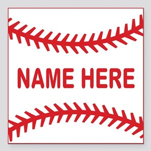 Baseball Laces Personalzied Name Square Car Magnet