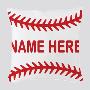 Baseball Laces Personalzied Name Woven Throw Pillo