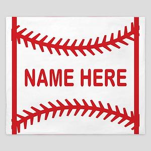 Baseball Laces Personalzied Name King Duvet