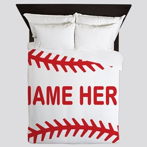 Baseball Laces Personalzied Name Queen Duvet