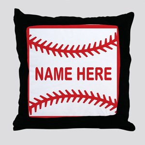 Baseball Laces Personalzied Name Throw Pillow