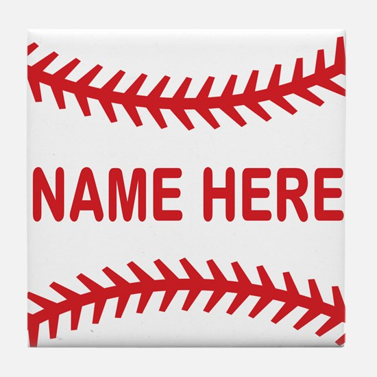 Baseball Laces Personalzied Name Tile Coaster