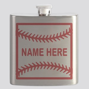 Baseball Laces Personalzied Name Flask