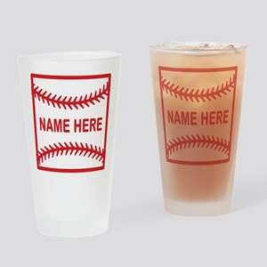 Baseball Laces Personalzied Name Drinking Glass