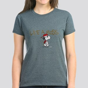 Peanuts Snoopy Like A Boss Women's Dark T-Shirt