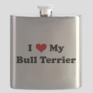 I Love My Bull Terrier Flask
