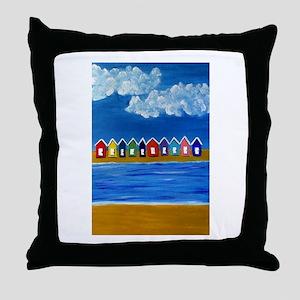 Beach Hut Beach Throw Pillow