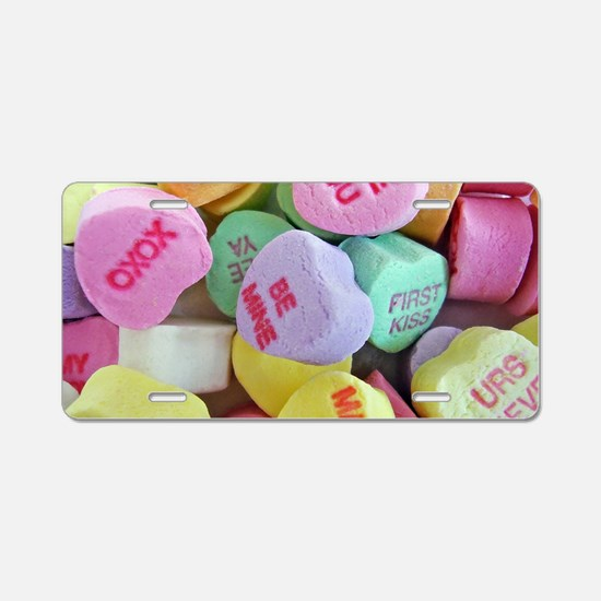 Candy Hearts Aluminum License Plate