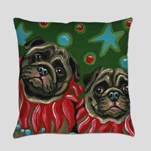 Christmas Pugs Everyday Pillow
