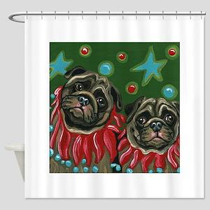 Christmas Pugs Shower Curtain