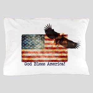 American Flag Eagle top right God Bles Pillow Case