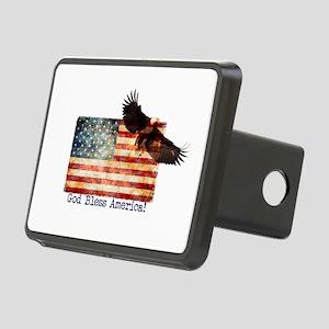 American Flag Eagle top ri Rectangular Hitch Cover