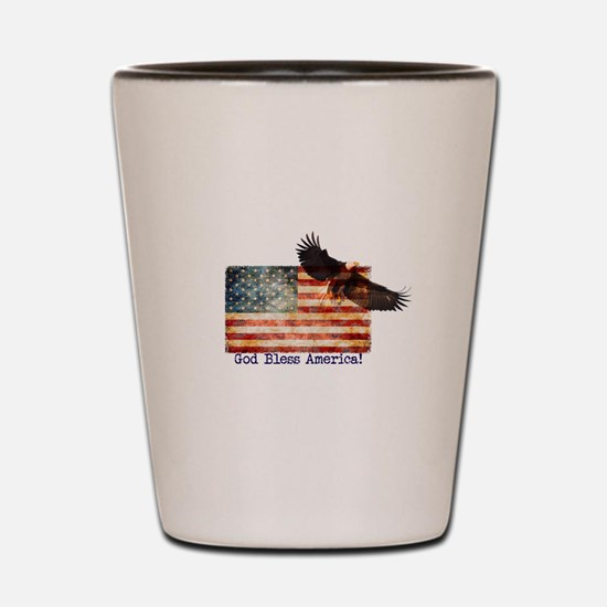 American Flag Eagle top right God Bless Shot Glass