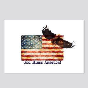 American Flag Eagle top r Postcards (Package of 8)