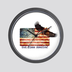 American Flag Eagle top right God Bless Wall Clock