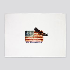 American Flag Eagle top right God B 5'x7'Area Rug