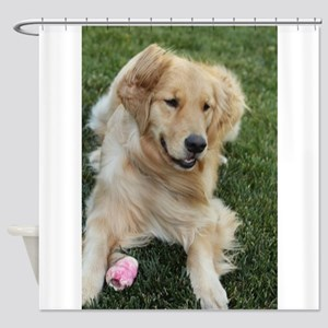 frisky golden retriver Shower Curtain