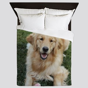 Nala the golden retroever dog Queen Duvet
