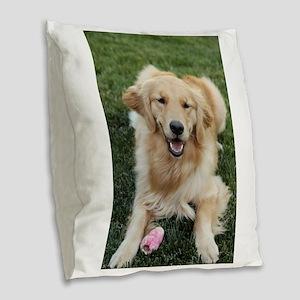 Nala the golden retroever dog Burlap Throw Pillow
