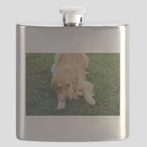 golden on grass Flask