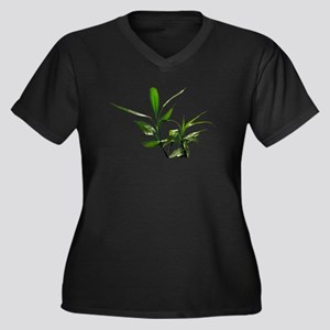 green lucky bamboo leaves. Plus Size T-Shirt