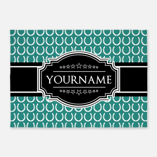 Teal and Black Horseshoe Personaliz 5'x7'Area Rug