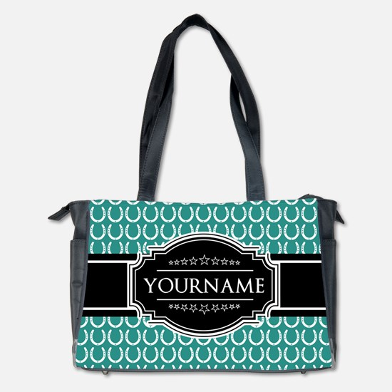 Teal and Black Horseshoe Personalized N Diaper Bag