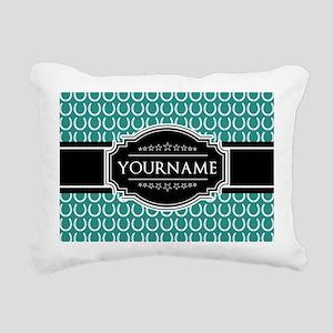 Teal and Black Horseshoe Rectangular Canvas Pillow