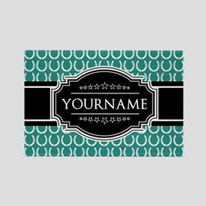 Teal and Black Horseshoe Personal Rectangle Magnet