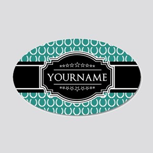 Teal and Black Horseshoe Per 20x12 Oval Wall Decal
