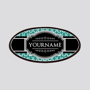 Teal and Black Horseshoe Personalized Name Patch