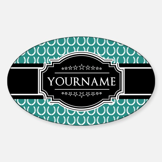 Teal and Black Horseshoe Personaliz Sticker (Oval)